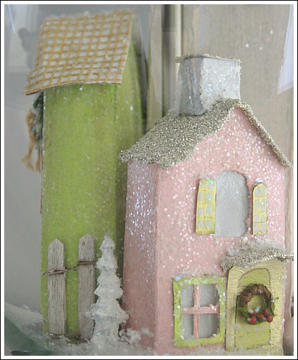 Learn to make Putz houses from cereal boxes - Jennifer Decorates.com