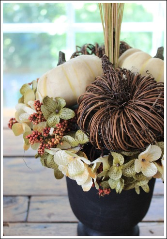 Easy Autumn floral arrangement tutorial from Jennifer Decorates.com