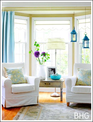 Another Great Bay Window Treatment Idea Is To Hang Long Panels On The Outside Of Your And Then Roman Shades Cloth Pull Down