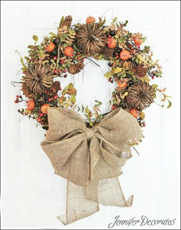 Fall wreath ideas from Jenniferdecorates.com