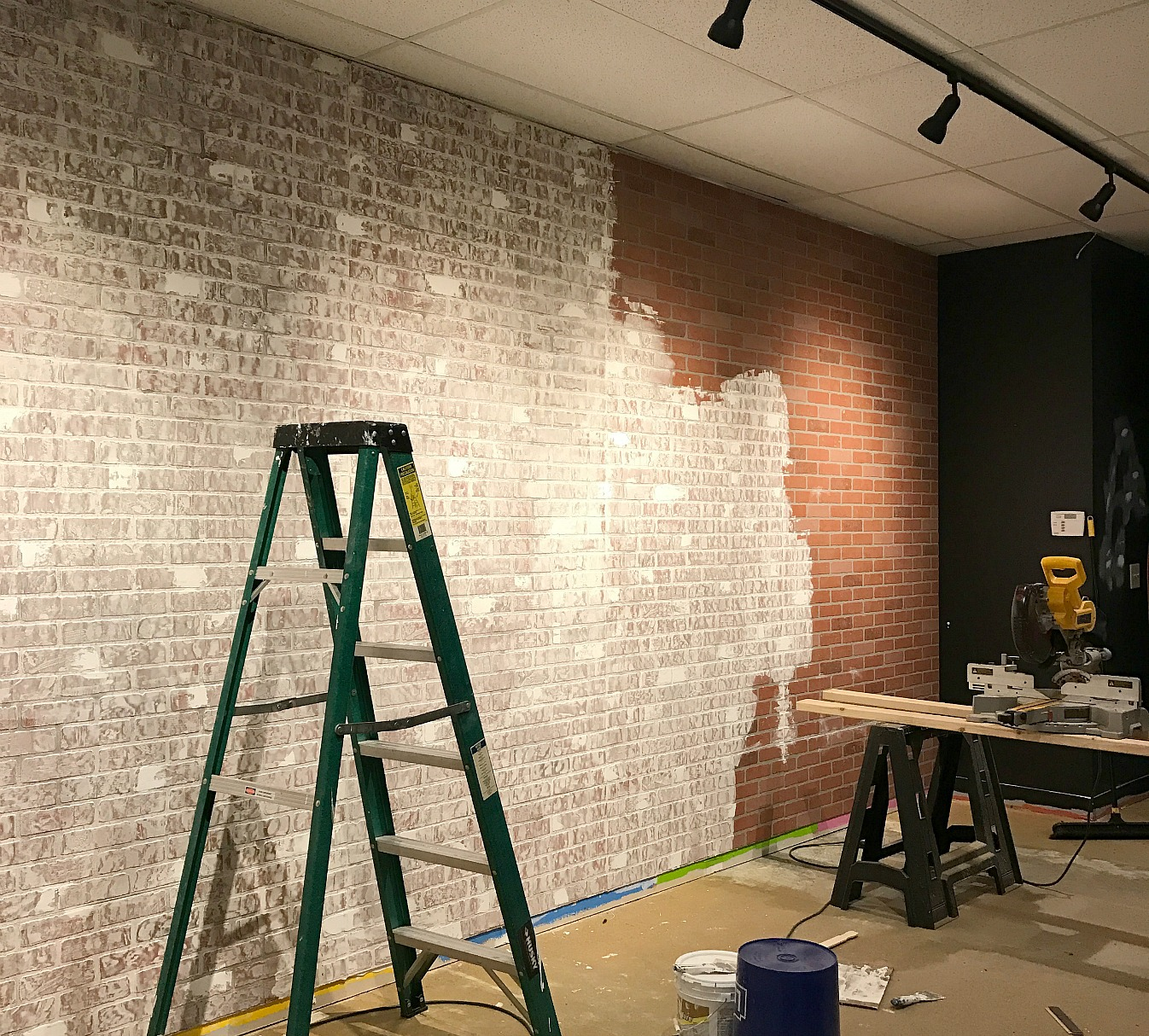 Faux Brick And Plaster Wall: Faux Brick Wall Created From Brick Paneling