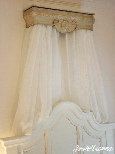 Headboard ideas jennifer decorates - Shabby chic curtain poles ...