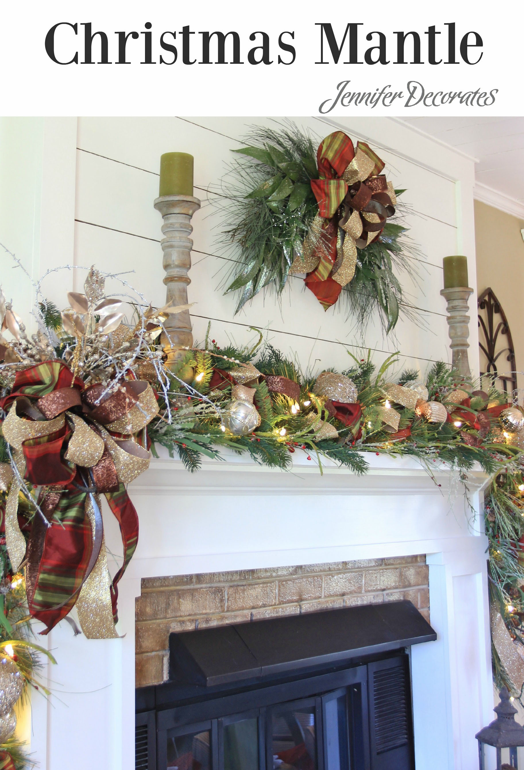 How to decorate a mantle for Christmas from Jennifer Decorates.com