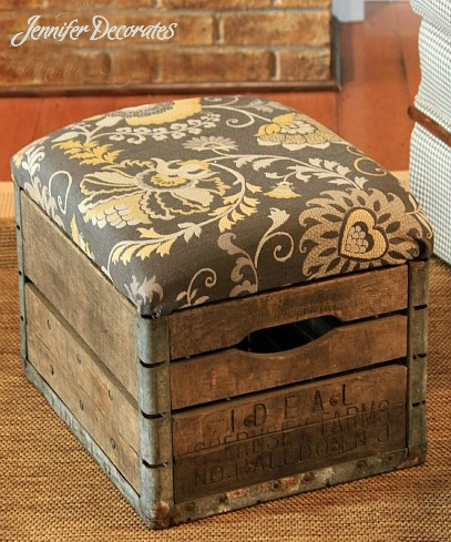 how to make an ottoman using a vintage milk crate