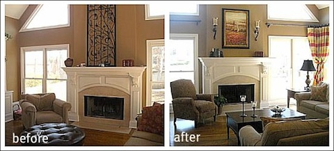 before and after decorating pictures of a living room