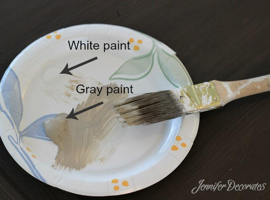 DIY Restoration Hardware look using acrylic paints.  Cheap and Easy.  Jennifer Decorates.com