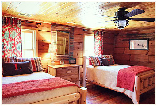 Two queen beds one dresser and two small nightstands of pine log